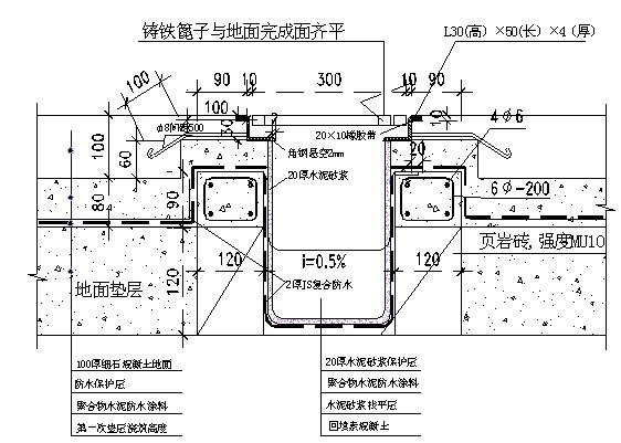 3)设备机房排水沟与楼地面防水层交界处做法(图2,3).